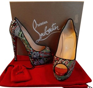 Christian Louboutin Embroidered Satin Crepe Multi Pumps