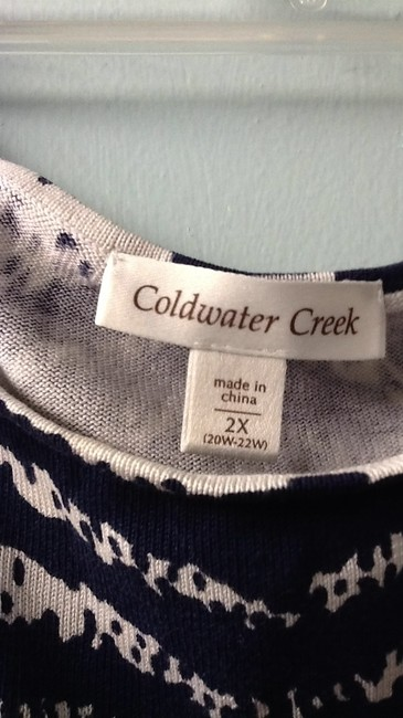Coldwater Creek Top blue and white