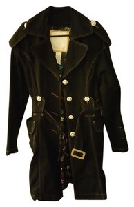 Baby Phat Decorative Buttons Belt Trench Coat