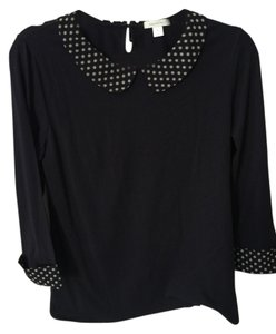 Garnet Hill Polka Dot Elbow Sleeve T Shirt Navy