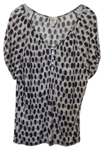 Weston Wear Anthropologie Oversized Knit Small Top Off-white with grey and black