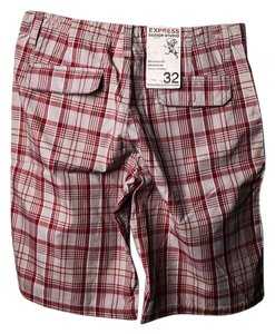 Express Mens Short Plaid Cargo Jeans-Coated