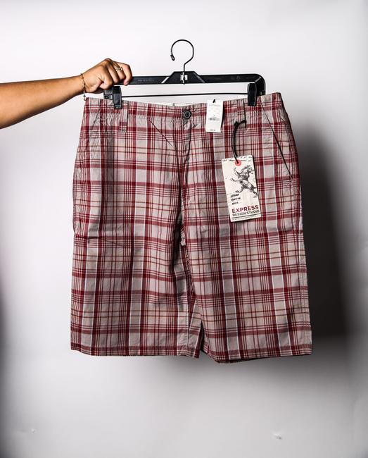 Express Short Plaid Cargo Jeans-Coated