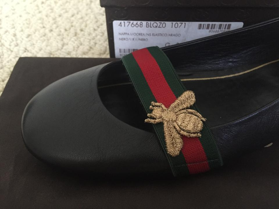 29bca97a1 Gucci Black Bayadere Leather Web Bee Classic Ballet Flats Size US ...
