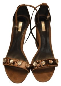 SCHUTZ Leather Ankle Strap Cork Neutral, Animal Print Sandals
