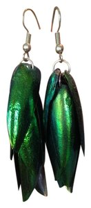 Other Beetle Wing Natural Nature Green Metallic Earrings