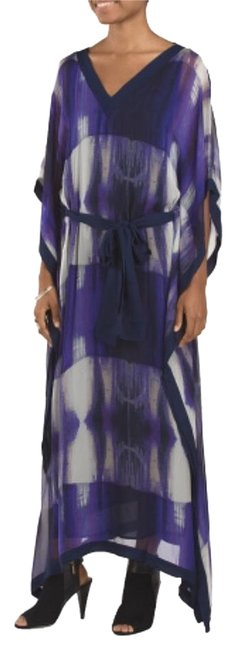 Item - Purple Poncho Sleeve Evening Silk Violet Bn Long Night Out Dress Size 4 (S)