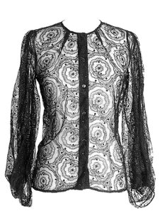 Fendi Lace Blouse Lace Button Down Shirt Black