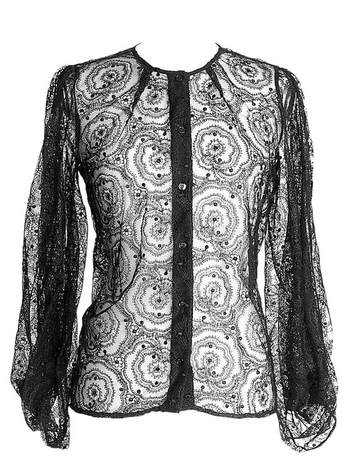 Preload https://img-static.tradesy.com/item/18572125/fendi-black-blouse-lace-42-fits-6-to-button-down-top-size-8-m-0-1-650-650.jpg