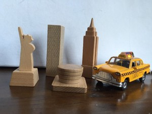 Muji New York City Wooden Landmark Blocks and Nyc Taxi Reception Decoration