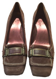 Cole Haan Suede Buckle Heels Leather Brown Pumps