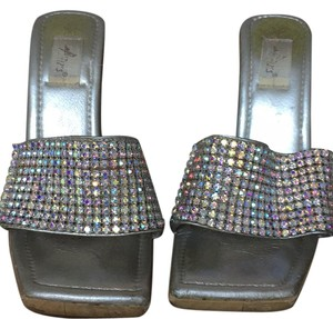 Brazillian Designer Silver and crystals with wood bottom Wedges