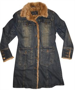Steve Madden Jean Jacket Fur Button-up Winter Warm Trench Coat