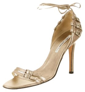 Brian Atwood Metallic Ankle Strap Gold Sandals