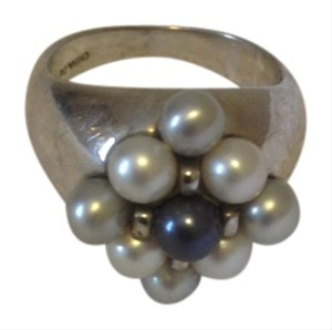 other Silver tone ring with faux grey and white pearls