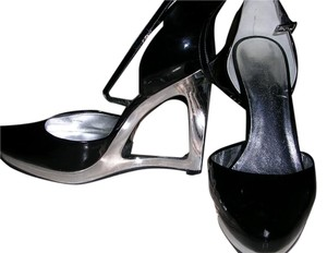 Jessica Simpson Women's Ankle Strap Shiny Black Wedges