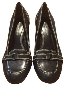Bandolino Leather Buckle Heel Work Black Flats