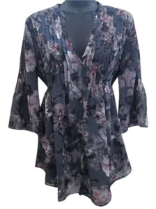 Calvin Klein Floral Chiffon Pleated Abstract Formal Tunic