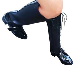 Knee-high High-heeled Edgy Black Boots