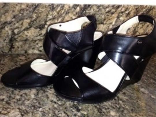 Calvin Klein Black Leather Wedges