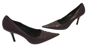 bebe Purple all leather pleated pointed Pumps