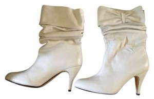 Jeffrey Campbell Leather Slouch Size 9 Bow White Boots