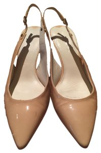Via Spiga Patent Leather Slingback Heels Nude Pumps