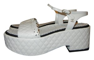 Chanel Quilted Cc White Platforms
