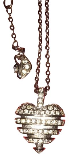 Swarovski Swarovski Crystal And Silver Heart Necklace. Adjustable chain can be 14' to 18' inches