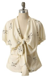 Anthropologie Vintage Girls Of Savory Anthro Bow Tie Top cream