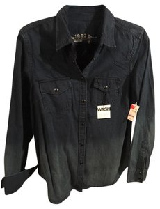 Gap Ombre New With Tag Nwt Faded Snaps Snap Front Button Down Shirt Denim