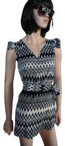 alya short dress black and white Belted Zig Zag on Tradesy