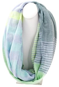 Other Woven Pastel Mint Striped Infinity Loop Scarf
