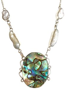 Large Abalone and Biwa Pearl 925 Sterling Silver Necklace