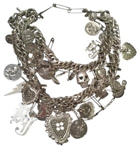 Betsey Johnson Runway BJ Heart Skull Chain Trash Chunky Statement Necklace
