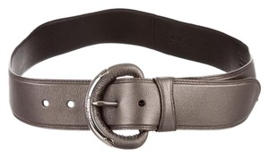 Prada PRADA SILVER LOGO LEATHER BELT