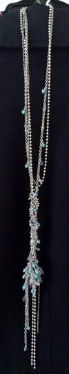 Banana Republic Banana Republic long silver/turquoise beaded necklace