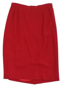 Max Mara Red Lightweight Wool Pencil Skirt