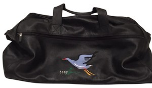 Sony Duffle Travel Leather Black Travel Bag
