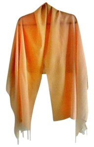 St. John NEW ombre blush/ivory fringed-hem shawl/wrap