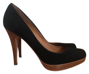 Steven by Steve Madden Platform Wood Suede Black Pumps