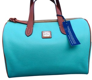 Dooney & Bourke Satchel in Spearmint (turquoise) and Brown
