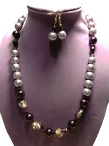 JC Creations artistic jewelry Purple crystal pearl necklace and earrings set!