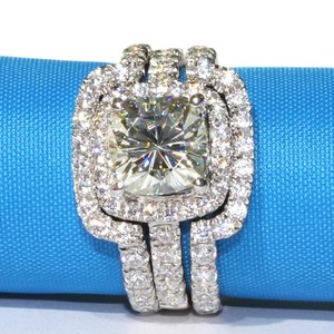 Port City Jewelers 4 Cttw 3ct Center Nscd Sona Simulated Cushion Cut Diamond Wedding Set Engagement Ring - We Can Do Any Finger Size
