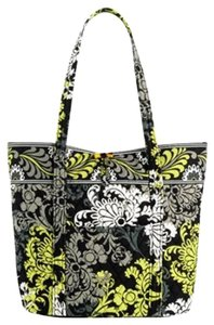Vera Bradley Quilted Baroque Tote in Black, White and Lime