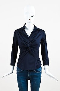 Prada Navy Cotton Blend Twist Front Cropped Sleeve Top Blue