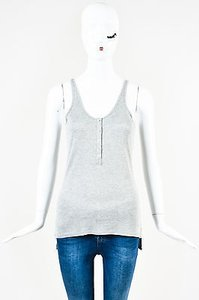 ATM Gold Glitter Ribbed Knit Scoop Neck Sleeveless Top Gray