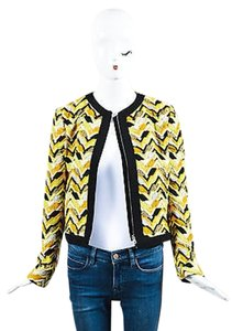 Giambattista Valli Yellow Orange Black Embroidered Patterned Ls Multi-Color Jacket