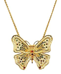 Gold Tone Red Green Blue Rhinestone Butterfly Pendant Chain Link Necklace