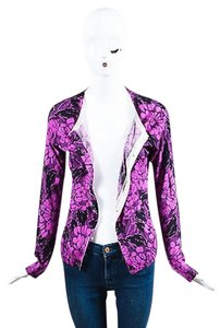 Bottega Veneta Black Cashmere Silk Floral Print Cardigan Sweater